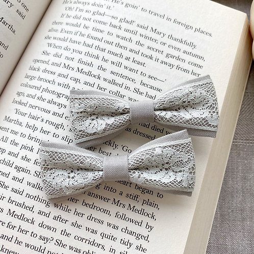 Grey Lace Skinny Bows