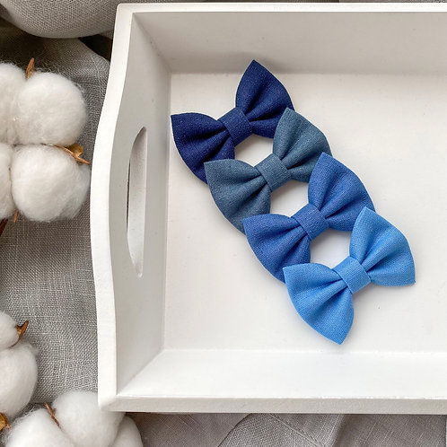Sea Blue Linen Bows