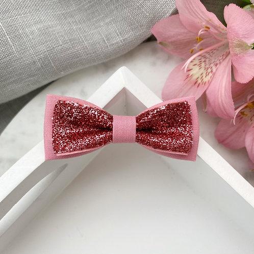 Skinny Glitter Bow - Wood Rose