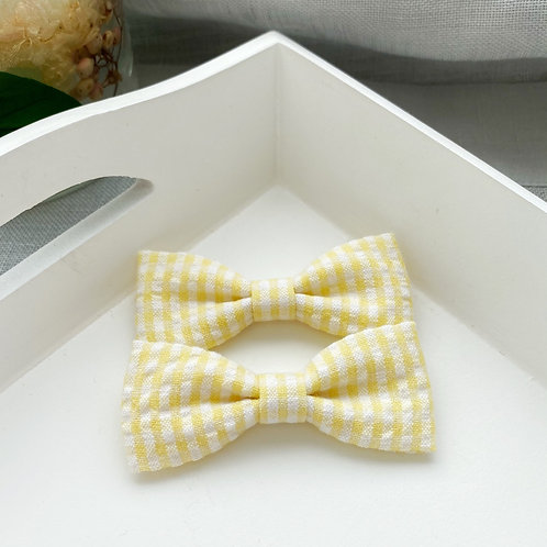 Skinny Seersucker Yellow Piggy Bows