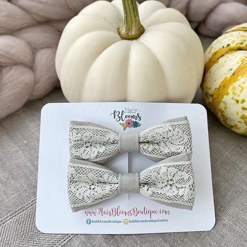 Grey Lace Pigtail Bows