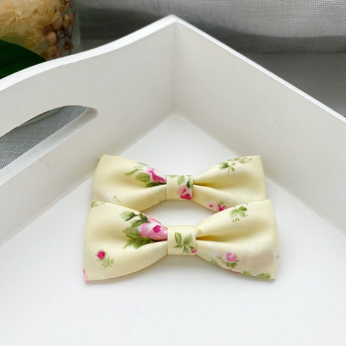 Skinny Emily Floral Yellow Piggy Bows