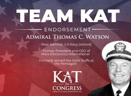 Admiral Tom Watson of Fleming Island backs Kat Cammack in FL-03