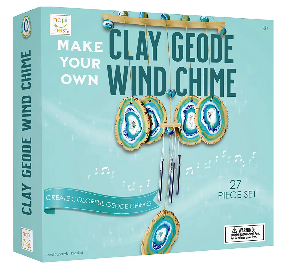 Box containing clay geode wind chime craft set