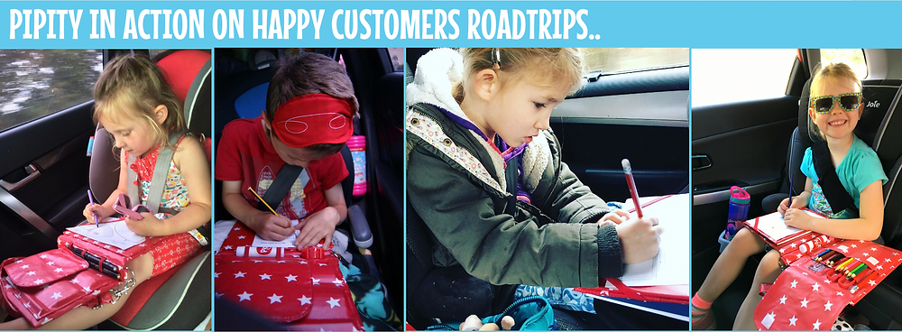 Children using Pipity Activity Cases during car journeys