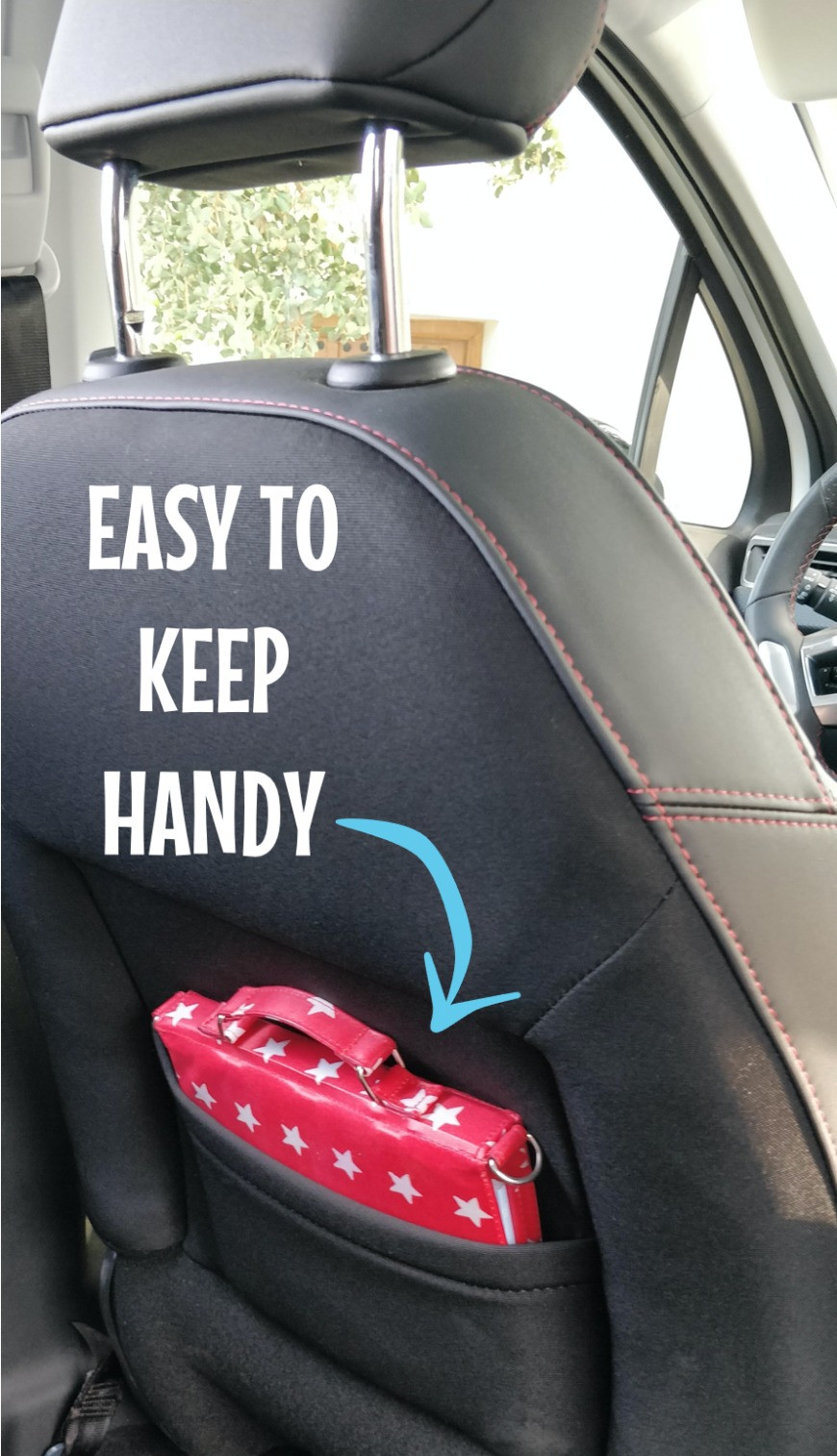 Pipity Activity pack stored in seat back on road trip so that it's handy
