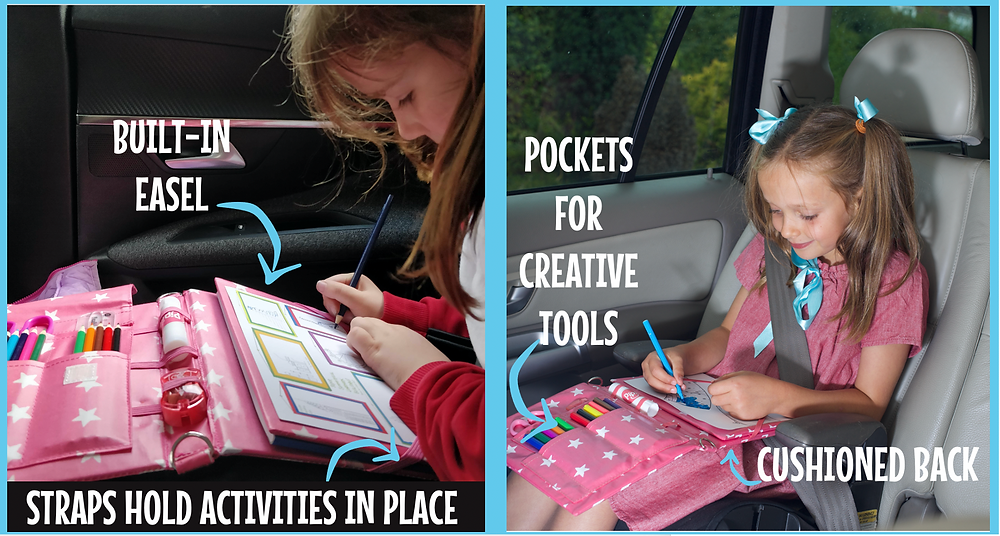 Kids completing Pipity activities during a road trip