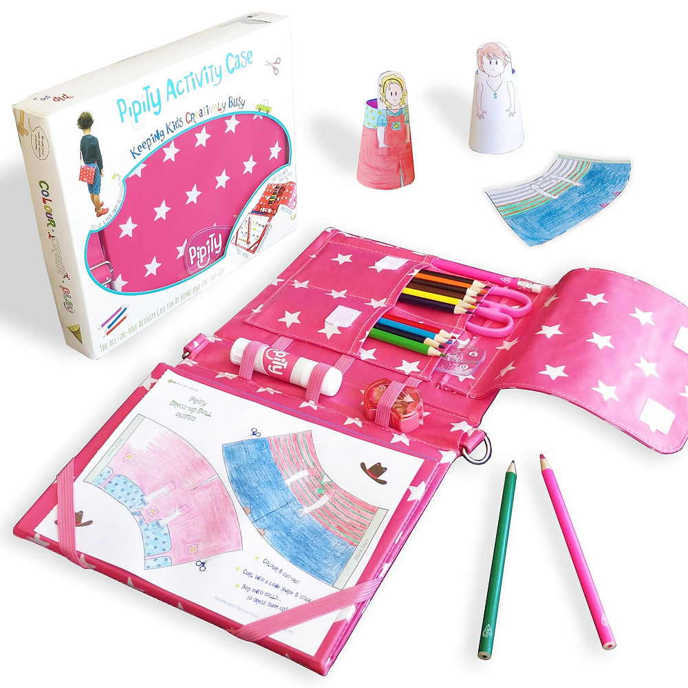 Pink Pipity Activity Case in action with arts and crafts for girls
