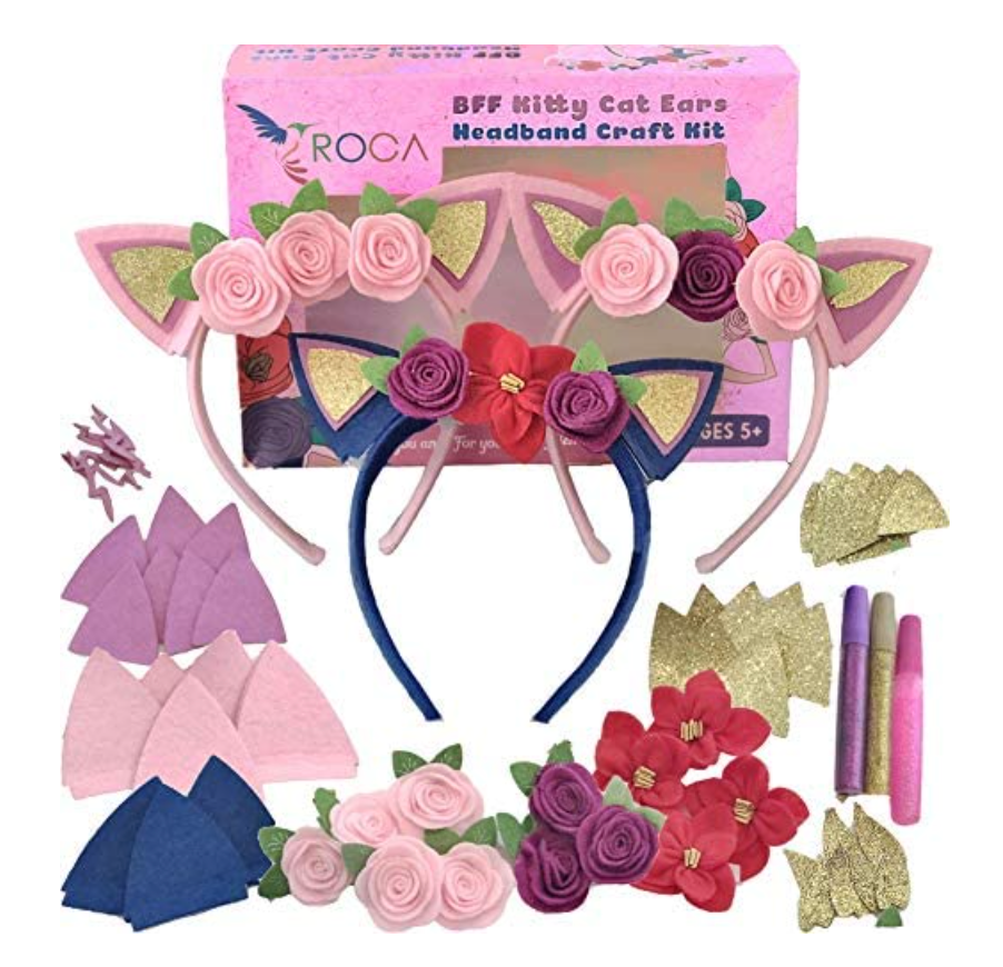 Cat and flower craft headband kits for girls showing contents