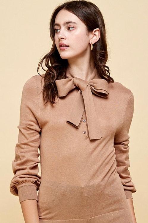Henley Tie Neck Sweater Top
