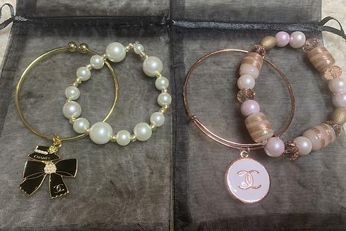 Holiday 2pc Charm Bangle& Beaded bracelet set