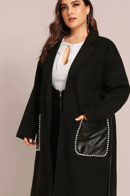 Curvy Pearl Patch Pocket Belted Coat