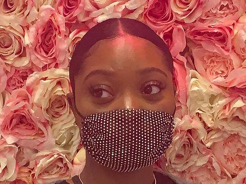Black Rhinestone Face Mask