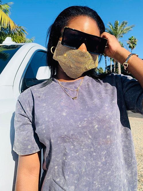 Gold Rhinestone Face Mask