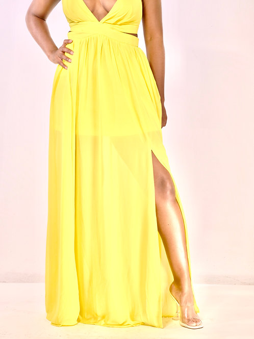 Yellow V-Neck Maxi Dress
