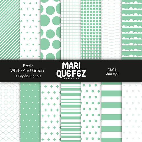 Basic - White And GreenDigital Paper