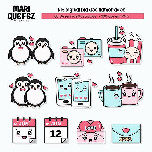 Kit Digital Desenhos Ilustrados Dia Dos Namorados ( Avulso do Kit Dia Dos Nam )