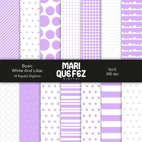 Basic - White And LilacDigital Paper