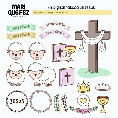 Páscoa de Jesus Desenhos Ilustrados ( Opção avulso do Kit Páscoa de Jesus )