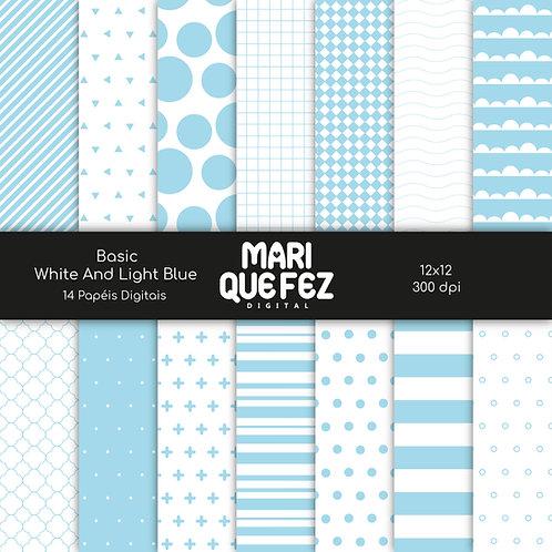 Basic - White And Light BlueDigital Paper
