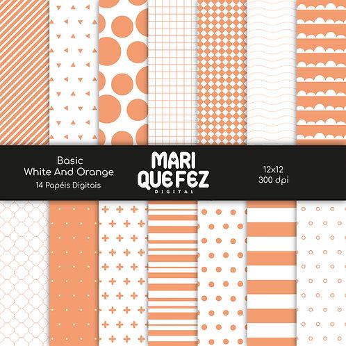 Basic - White And OrangeDigital Paper