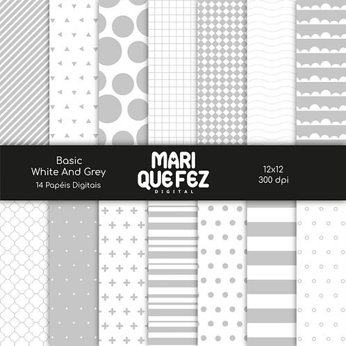 Basic - White And Grey Digital Paper