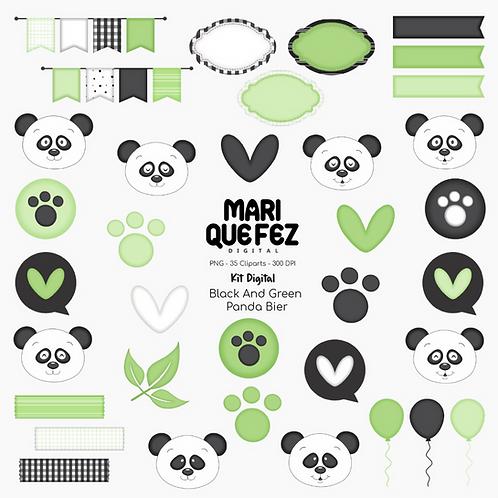 Black And Green Panda Bear Kit Digital