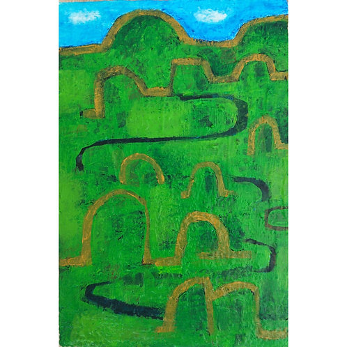 Green Landscape with Winding Road (2020)
