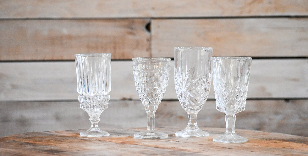 Clear Mismatched Goblets