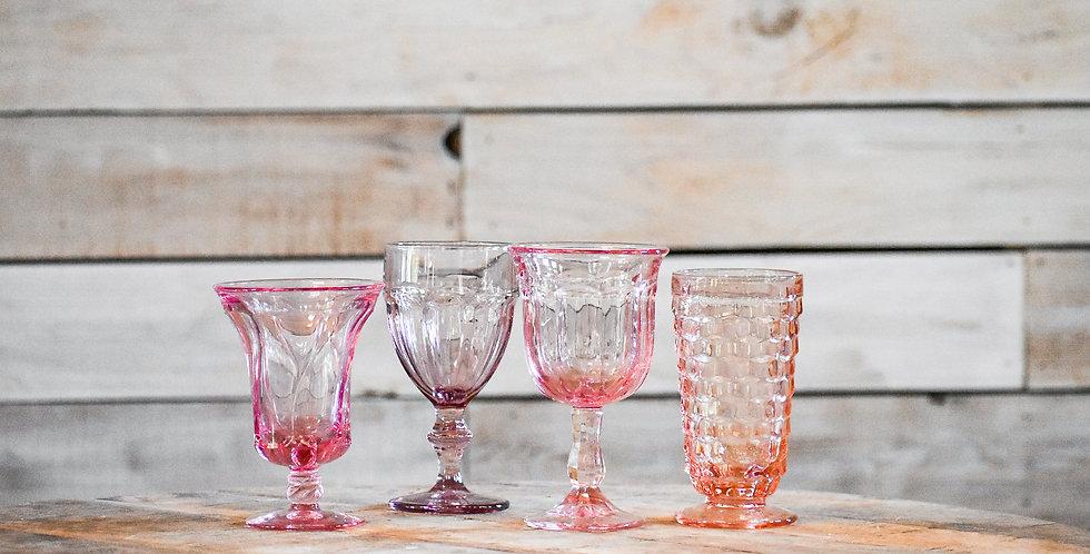 Pink Mismatched Goblets