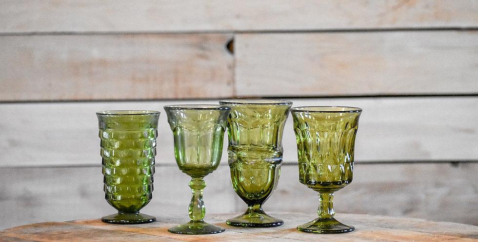 Green Mismatched Goblets