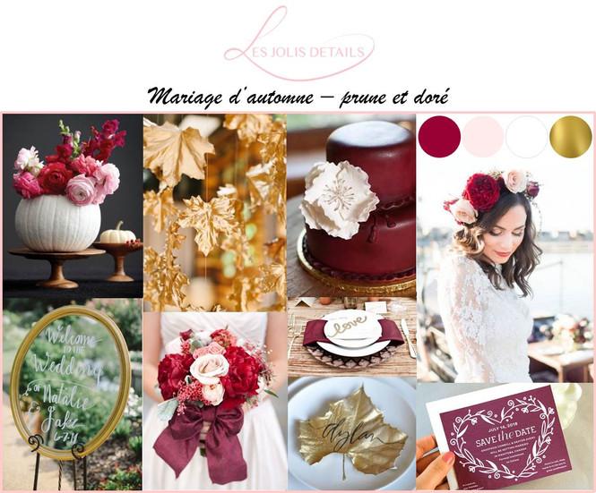 Planche d'inspiration : mariage d'automne - prune et doré