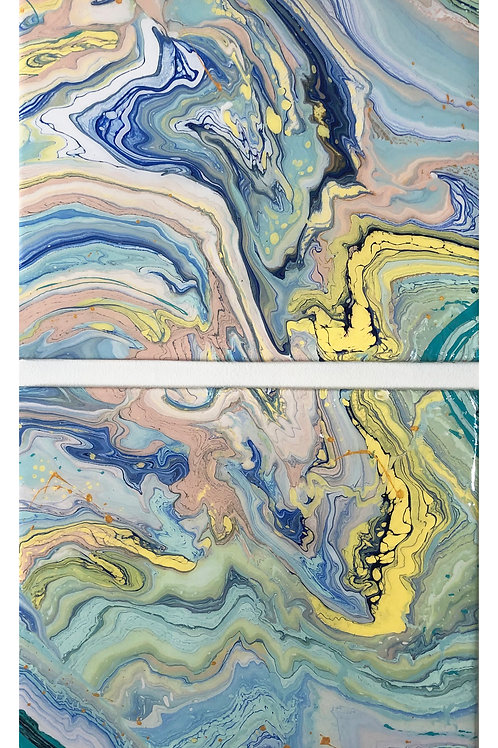 2 Piece Original Painting, acrylic and resin diptych canvas 2020