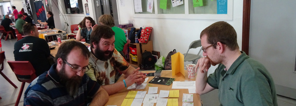Phil and Joe running playtesting at UnCon 3.0