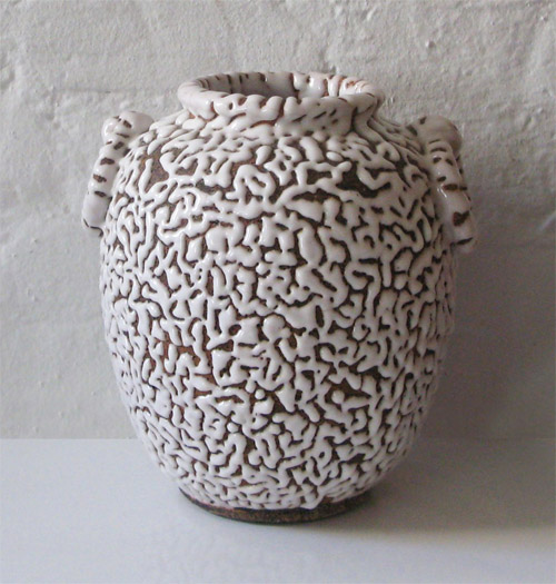 Vermiculated Ceramic Vase, Japan