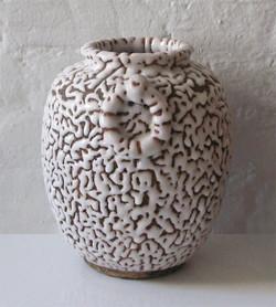 Vermiculated Ceramic Vase, Japan