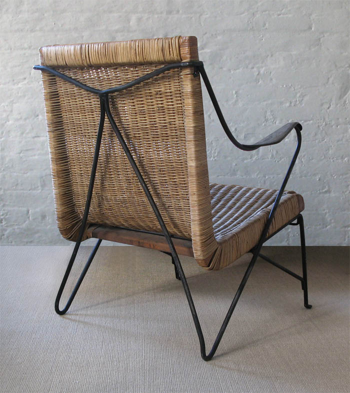 Iron and rattan armchair