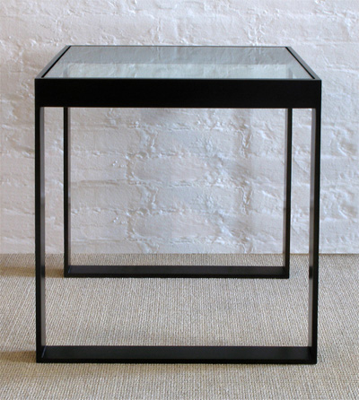 Bronze Side Table with Glass Top
