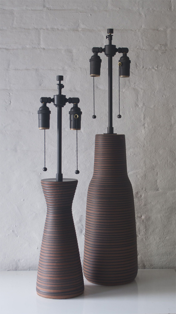 BROWN RIBBED LAMPS