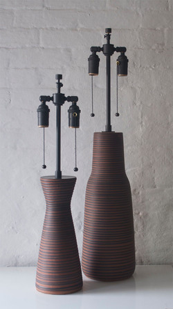 BROWN RIBBED LAMPS