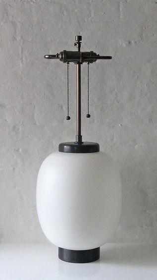 White Glass Lamp, Italy c. 1960