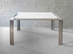 STEEL AND PARCHMENT TABLE