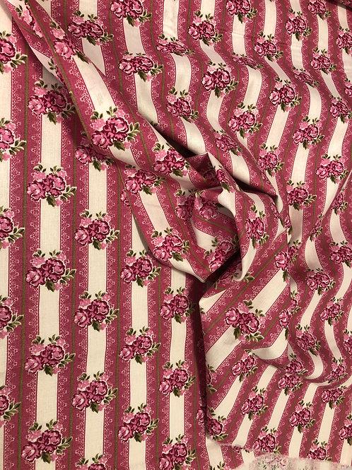Tricoline Flores Vintage Rosa