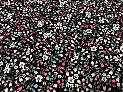 Tricoline Floral Preto