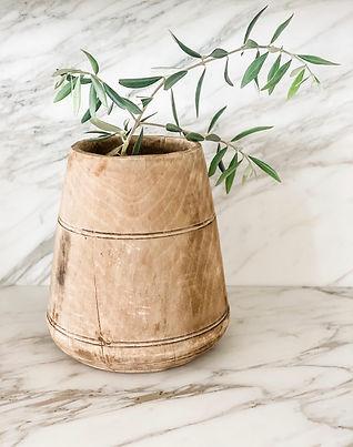 JZ Interior Designs Vintage Wooden Vase.