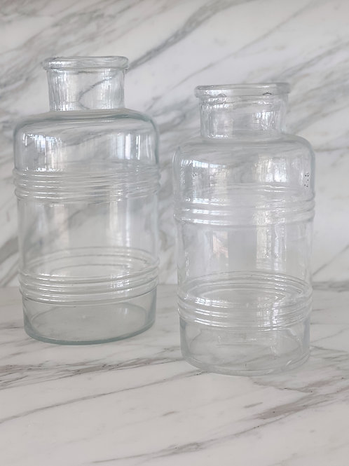 Vintage Glass Jar with Piping Detail