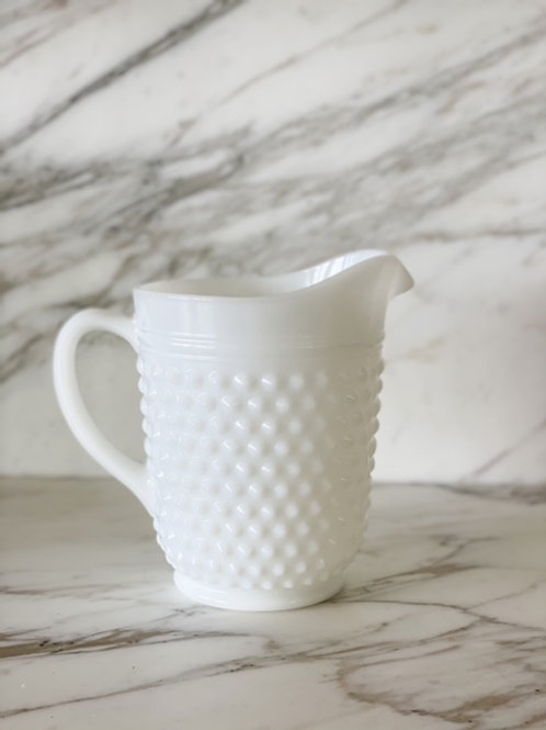 Vintage Milk Glass Hobnob Pitcher