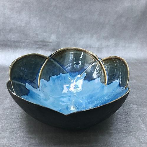 Blue Splatter Flower Bowl