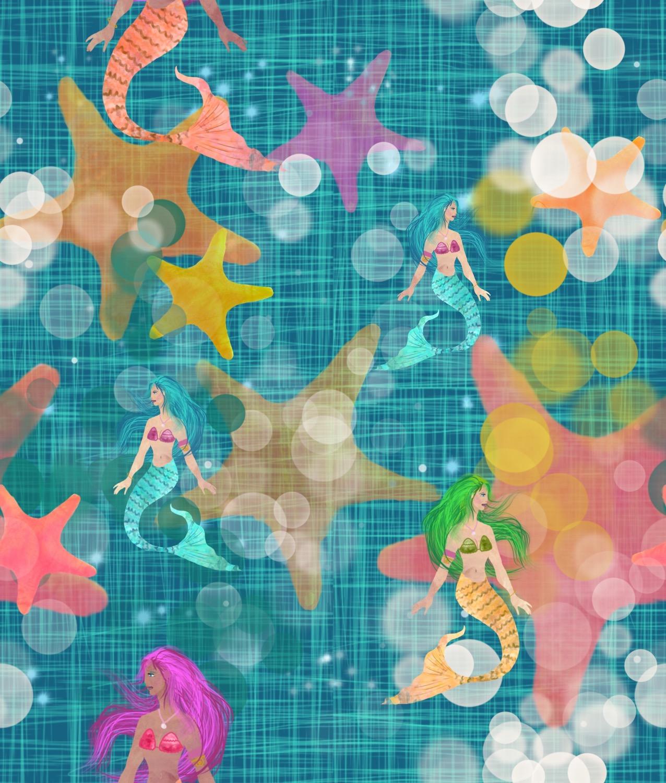 Hessian Effect Teal Mermaids