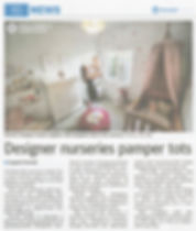 The article from the newspaper 'The West Australian' that was written on a styling project by Within for a little girls nursery